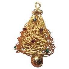 Vintage Christmas Tree Pin Gold Tone Wire Wrapped With Red And Green Rhinestones