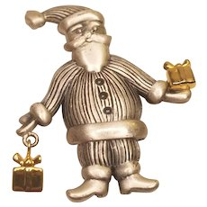 Vintage Pewter Santa Claus Dangle Pin With Gifts