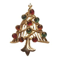 Vintage Christmas Tree Pin With Acrylic Faceted Ornaments Unsigned Trifari