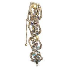 Vintage Art Company Unsigned Winter White Antiqued Rhinestone Bracelet