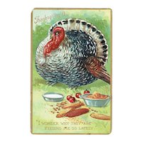 Vintage Raphael Tuck Thanksgiving Day Turkey Postcard 1909