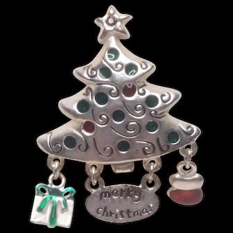 Vintage Christmas Dangle Pin Merry Christmas