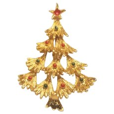 Vintage Christmas Layered Branch Tree Pin