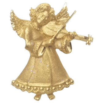Vintage Christmas Angel Pin Playing Violin