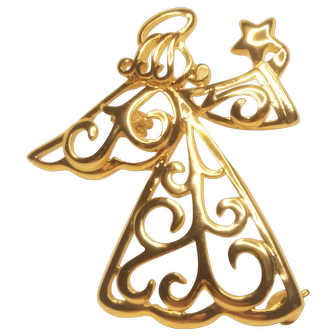 Vintage Christmas Angel Gold Tone Scrolls With Star Pin