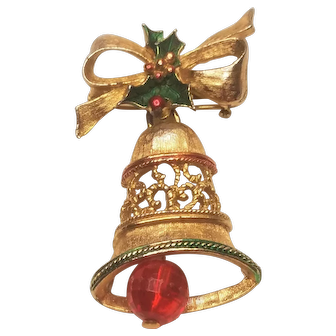 Vintage Christmas Bow And Bell With Holly Pin Signed Gerry's