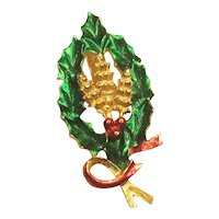Vintage Christmas Pin Signed Gerry's Wreath And Holly