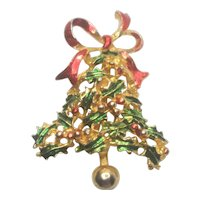Vintage Christmas Holly Bell With Ribbon