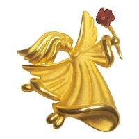 Vintage Christmas Angel Flowing Hair Red Rose Signed Tona