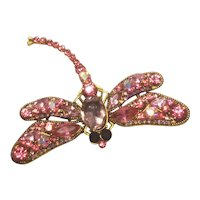 Vintage Rhinestone Pink Dragon Fly Pin Beautiful