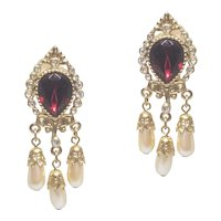 Vintage Chandelier Clip Earrings Ruby Red Rhinestone Simulated Pearl Dangles