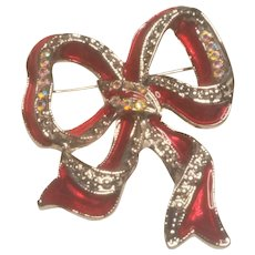 Vintage Christmas Enamel Rhinestone Bow Pin