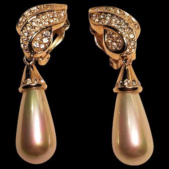 Vintage Pearl Drop Rhinestone Clip Earrings