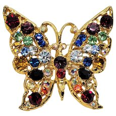 Vintage Rhinestone Rainbow Colored Beautiful Butterfly Pin