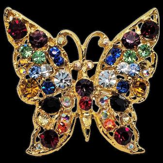 Vintage Rhinestone Rainbow Colored Beautiful Butterfly Pin