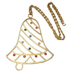 Vintage Beatrix Jewels Large Christmas Bell Necklace