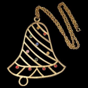 Vintage Beatrix Jewels Large Christmas Bell Necklace