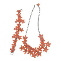 Vintage Orange Tone Flower and Rhinestone Necklace And Bracelet Set