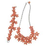 Vintage Orange Tone Flower and Rhinestone Necklace And Bracelet Set