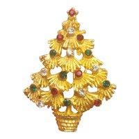 Vintage Christmas Tree Red White Green Rhinestone Pin LJM