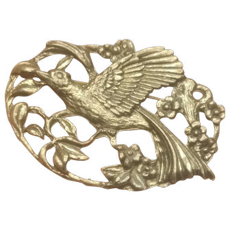 Vintage Oval Pewter Embossed Relief Flying Bird C-Clasp Brooch