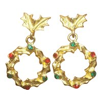 Vintage MYLU Christmas Wreath Pierced Earring Set