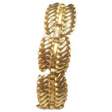 Vintage Crown Trifari Gold Tone Paneled Bracelet