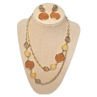 Vintage Sarah Coventry Taste Of Honey Textured Glass Necklace And Earring Set