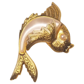Vintage Damascene Fish With Faux Pearl Accents Spain