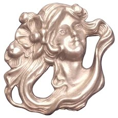Vintage Fine Pewter Art Nouveau Lady Head Pin
