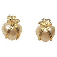 Vintage Joan Rivers Heart Shaped Pierced Earrings With Rhinestone Bows