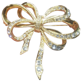 Vintage Kenneth J Lane for Avon Rhinestone Bow Brooch