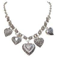 Vintage Hearts Dangle Basket Weave Silver Tone Metal Necklace