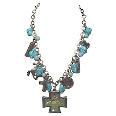 Vintage Cowgirl Charms and Faux Turquoise And Beads Necklace