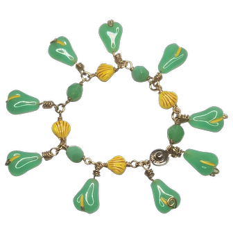 Vintage Glass Fruit Jadeite Pears With Mixed Beads Snap Bracelet
