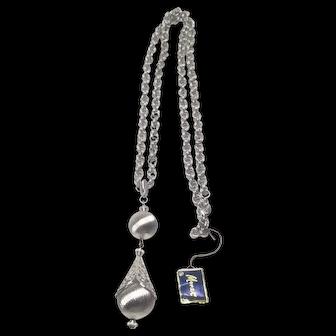 Vintage Monet Bolero Silver Tone Filigree Teardrop Pendant Necklace Mint Unused
