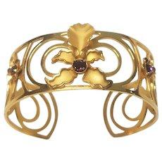Vintage Gold Tone Orchid Flower Purple Rhinestone Circle Pattern Bracelet