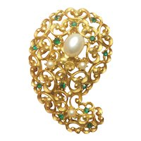 Vintage J. J. Paisley Green Rhinestone And Simulated Pearl Brooch