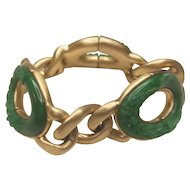 Vintage Monet Gold Tone Metal Stretch Green Patterned Lucite Ovals Bracelet