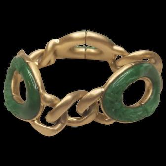 Vintage Monet Gold Tone Metal Stretch Green Patterned Lucite Ovals Bracelet