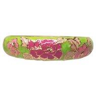 Vintage Floral Cloisonne Enamel Clamper Style Bangle Bracelet