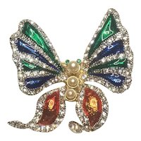 Vintage Rhinestone Butterfly With Beautiful Enamel Accents And Faux Pearls
