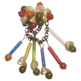 Vintage Unsigned Miriam Haskell Sea Shell and Glass Tubes And Beads Brooch