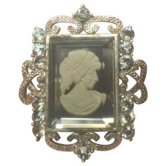 Vintage Silver Tone Reverse Glass Cameo With Smoke Colored Rhinestones