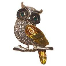 Vintage Silver Tone Owl Pin Enamel With Rhinestones
