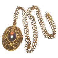 Vintage Filigree Double Sided Locket With Dragon's Breath Cabochon