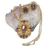 Vintage  Western Germany Filigree With Matching Clip Earring Amber Glass Stone Faux Pearls