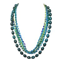Vintage Lucite Layer Necklace With Turquoise Color Beads And Eight Bead Strands