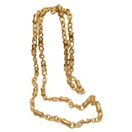 Vintage Monet Curb Chain and Barrel 36 Inch Necklace