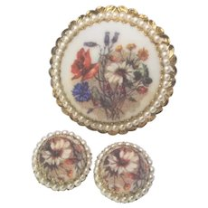 Vintage Western Germany Sugar Glass Brass Brooch And Earrings